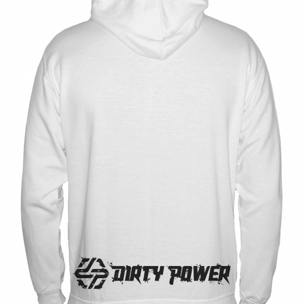 dirty power white hoody back