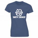 dirty power women's blue t-shirt