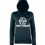 dirty power navy womens hoodie